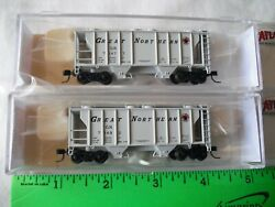 Lot Of 2 Atlas 50 002 113 114 Ps-2 Covered 2-bay Hopper Car, Northern Gn,n Scale
