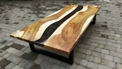 Black Epoxy Table Furniture Wooden Acacia Dining/living Table Deco Made To Order