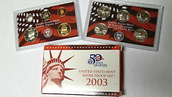 2003-s Us Silver Proof Set With Silver Dime Half And 5 State Quarters + Box Coa