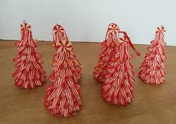 Lot Of 6 Red And White Peppermint Candy Cane Look Ribbon Tree Ornament 4.5 T