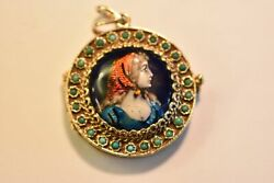 19th Century 14k Gold French Limoge 4 Picture Locket With Turquoise