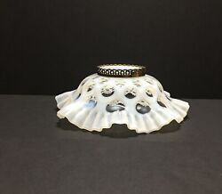 Vintage Fenton French Opalescent White Coin Dot Ceiling Light Ruffle Edge Shade
