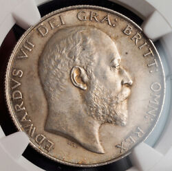 1902, Great Britain, Edward Vii. Nice Certified Silver ½ Crown Coin. Ngc Ms-62