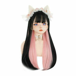 60CM Lolita Long Straight Black Mix Pink Ombre Bangs Heat Resistant Cosplay Wig