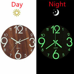 12and039and039 Large Wall Clock Glow In The Dark Luminous Night Silent Quartz Indoor Decor
