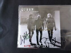 Queen + Adam Lambert Signed Live Around The World Latw Cd Autographed Brian May