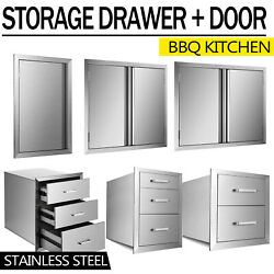 31x24 Outdoor Kitchen Double Access Door Drawer Bbq Island Stainless Steel Usa