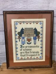 Primitive Framed Cross Stitch Completed Country Farmhouse Sampler Home 13x16