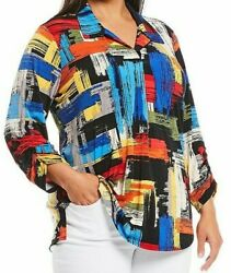 Nwt Ali Miles Black/red/blue/yellow/ Colorful Geometric Silky Knit Tunic Top 1x