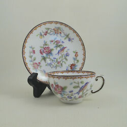 Pembroke By Coalport Smooth 6316 C1891-1920 Bone China Flat Cup And Saucer