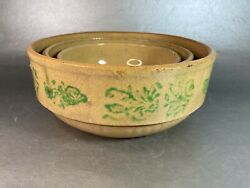 Vtg Yellow Ware Stoneware Pottery Mixing Nesting Bowls Green Floral Vine Accents