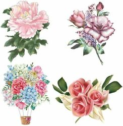 4Pcs Set Peony Flower Wall Decals Removable Wall Stickers Art DIY Home Decor Bed
