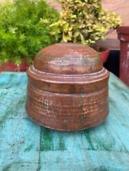 Old Antique Handcrafted Bronze Indian Chapati/jewelry Container Box With Lid