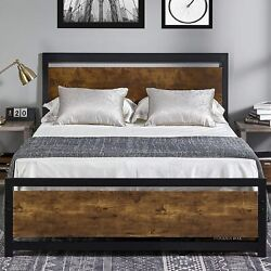 Full/queen Size Bed Frame With Wood Headboard Metal Platform Bed Heavy Duty