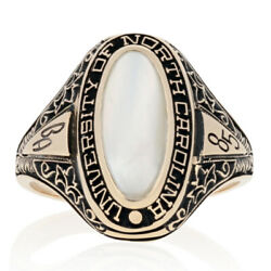 1985 University Of North Carolina Class Ring - 10k Gold Mother Of Pearl Unc