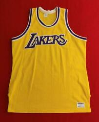 Los Angeles Lakers Blank Authentic Sand Knit Gold Nba Home Jersey Size 44