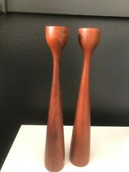 Mid Century Modern Pair Wooden Danish 1and039 Candle Holders Sticks