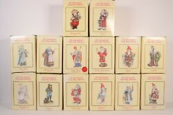 Huge 14 International Santa Claus Collection Figurines Lot Complete With Boxes