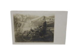 Antique Early 20th Century Photo Post Card Gentleman On Motorcycle