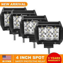 4pcs 4inch 240w Led Work Light Spot Pods Driving Strip Offroad 4wd Pickup Truck
