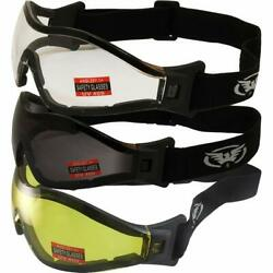 3 Global Vision Z-33 Padded Motorcycle Skydiving Goggles Clear Smoke Yellow Lens