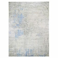 9'2x11'10 Ivory Pure Silk Fluffy Collection Hand Knotted Oriental Rug R47493