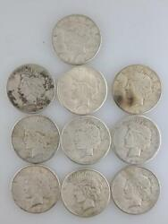 Lot Of 10 Peace Silver One Dollar Coin 1922s 7 1923s 3 Circulated 90 Silver