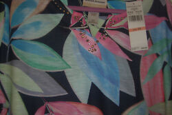 Alfred Dunner Plus Size 2x Top Classics 2021 Tropical Leaves Print New W/tags