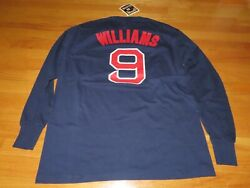 Majestic Cooperstown Ted Williams No 9 Boston Red Sox Md Long Sleeve Shirt Tag