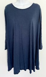 Comfy Usa Womens Crinkle Tunic W/ Button Sleeves Pullover Lagenlook Blue Medium