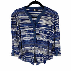 Cocomo Stretchy Blouse Size Pl Petite Large Blue Striped 3/4 Sleeves