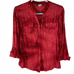 Cocomo Stretchy Blouse Size Medium Red Textured Sequins 3/4 Sleeves