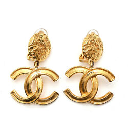 Authentic Coco Mark Logo Earrings 95a Gold Vintage Nice Beauty K517625070