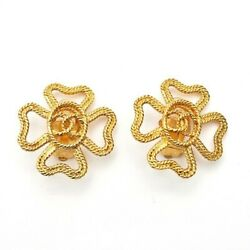 Authentic Coco Mark Clover Earrings Gold Beauty Vintage Nice E518312618
