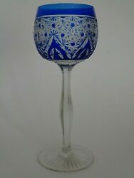 Antique One Wine Roemer Glass Crystal St Louis Or Baccarat France Blue Cobalt