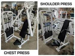 Cybex Vr2 Chest Press And Overhead Press Shoulder Gym Weight Stack Machines Pair