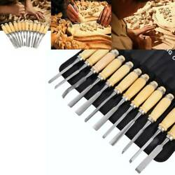 12 Pcs Wood Carving Hand Chisel Tool Kit Woodworking Gouges 1.9 Lbs High Quality