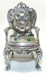 Rare Heavy Sterling Silver Miniature Formal Dining Chair Italy Signed 2t 28+ G
