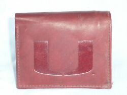 Miami Hurricanes  Leather Trifold Wallet   New   Dkb Z+ --sd