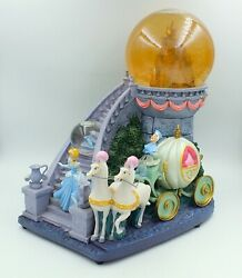 Disney Cinderella Musical Snow Globe Large Carriage Castle Stairs Glass Slipper