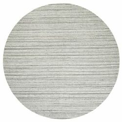 11and03910x11and03910 Gray Hand Loomed Natural Wool Plain Modern Design Round Rug R63048