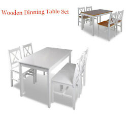 Classic 5 Pieces Dining Table Set Wooden Kitchen Furniture 4 Chairs And 1 Table