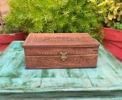 Indian Antique Wooden Handcrafted Beautifully Engraved Pattern Jewelry Box