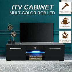 High Gloss Tv Unit Cabinet Stand W/led Light Shelves Drawers Home Furniture 2021