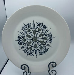 Meteor China Black White Floral Scroll 12.25 Platter Chop Plate Sears Japan 3916