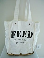 Feed 100 Children of the World zipped Burlap Cotton Tote Bag Collapsable $36.99
