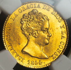 1844, Spain, Queen Isabel Ii. Gold 80 Reales Coin 6.77gm Barcelona Ngc Ms63