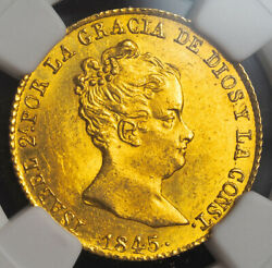 1845, Spain, Queen Isabel Ii. Rare Gold 80 Reales Coin. Unlisted Date Ngc Ms63