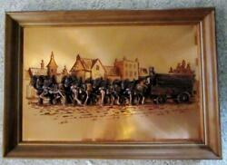 Budweiser Busch Clydesdale Wagon Hitch Copper 3-d Framed Picture  Great Item