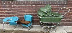 Vintage Rex Stroll-o-chair Baby Stroller Carriage Table High Chair Lot Mcm